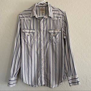 Lucky Brand Navy and White Button Down Shirt